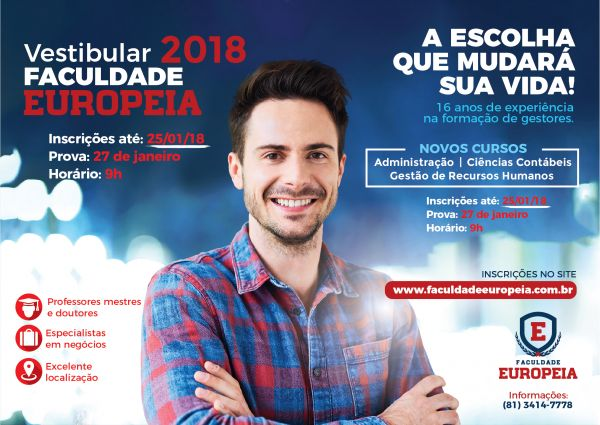 Nova chance de participar do Vestibular 2018 da Europeia